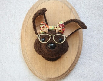 Faux Taxidermy Jackalope Nerd, Brown Bunny with Bow