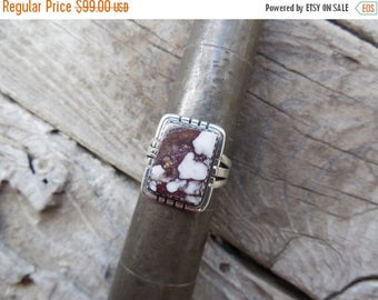 ON SALE Wild Horse Magnesite ring handmade in sterling silver and signed by an American Indian