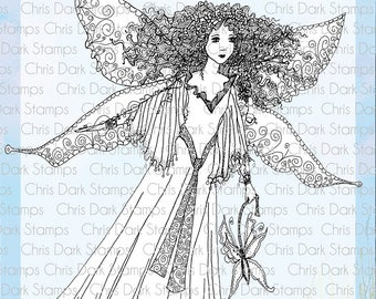 Butterfly Fairy Stamp Set by Chris Dark - Paperbabe Stamps - Clear Photopolymer Stamps - For paper crafting and scrapbooking.
