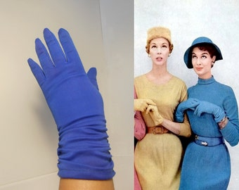 I'll Think About It - Vintage 1950s Royal Cobalt Blue Mid Arm Ruched Gloves - 6.5