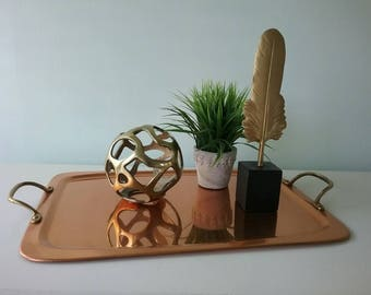 Tray with handles, Copper Brass Tray Mod Decorative Tray Brass and Copper  Tray, Serving Tray, Coffee Table Tray, Bar Tray