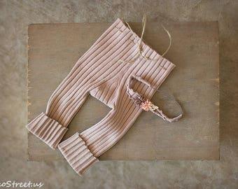 Mauve Brown Newborn Pants and Peach Headband Set, Baby Headband, Newborn Props, RTS Baby Props, Mohair Pants, Newborn Headband RTS