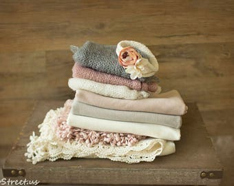 Baby Lace Wraps, Jersey Wrap and Newborn Headband Set, Newborn Wraps, Blush, Ivory, newborn Props, RTS, Mauve Wrap, Baby Props, Mohair Wraps