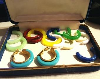 Crown Trifari Interchangeable Pierced Earrings, Hoops 8 colors,Vintage Earrings, Designer Jewelry