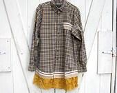 Plus size shirt, 2X, upcycled clothing, yellow red and blue plaid tunic, oversized boyfriend shirt, boho funky shirt, Lily Whitepad