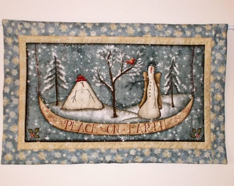 Peace on Earth Quilted  Wall Hanging