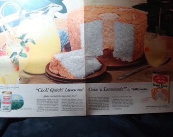 1954 Large Full Page Betty Crocker Angel Food Cake Mix Ad.