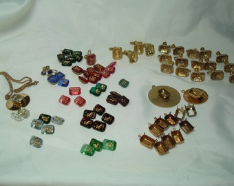 1960s Facetted Jeweled ZOADIAC Horoscope Stones with Cufflinks Earrings and Bezels for Jewelry Making.