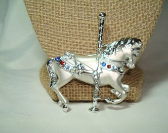 Lovely Vintage Silver Tone with Jewels Carousel Horse Pin.