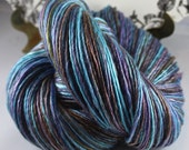 Handspun Yarn Gently Thick and Thin DK Single Merino and Tencel 'Dragonfly'