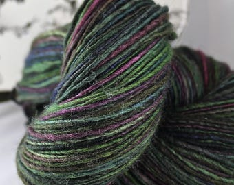 Handspun Yarn Gently Thick and Thin DK Single Blue Faced Leicester and Tussah Silk 'Aurora Borealis'