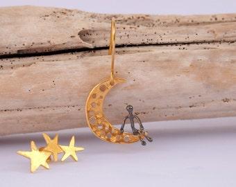 Gold Moon Gold Star Earrings, Man on the Moon Earrings
