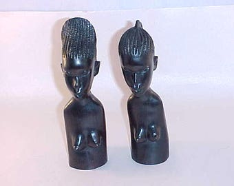 2 Hand Carved Wood Figurines from Africa