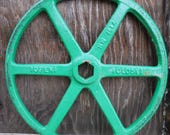 Vintage cast iron Wheel valve pulley green handle Industrial Salvage machine age Repurpose table base Supplies 16 inch