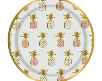 Pineapple and Gold foil 7 inch Plate set of  8