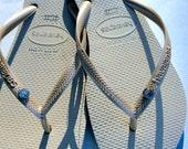 Havaiana Slim White Tan FLip Flop Sandal with Swarovski Crystal Stud all sizes