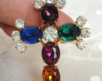 Gorgeous vintage sparkled colorful crystals Cross Pendant