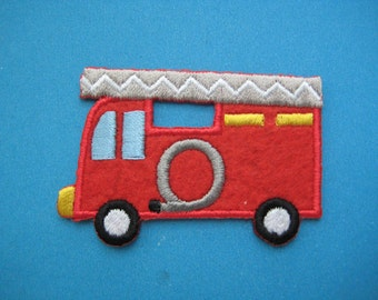 Clearance~ 5 pcs Iron-on embroidered Patch Fire Engine 2.25 inch