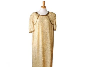 60% off sale // Vintage New Years Gold Beaded Sequin Dress - Women Silk Sack Dress, Large