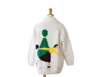 60% off sale // Vintage 60s Bowling Novelty Design Hand Knit Cardigan - Women Large, thick, handmade, retro