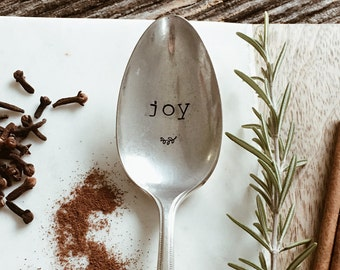 Joy Hand Stamped Vintage Spoon