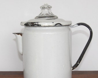 Vintage White Graniteware Coffee Pot with Pyrex top