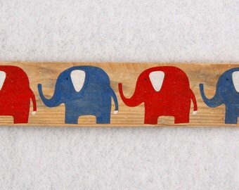 Baby Elephant Sign in Reclaimed Wood - Rustic Children's Room Artwork - Handpainted Original Nursery Art - Red, White and Blue Elephants