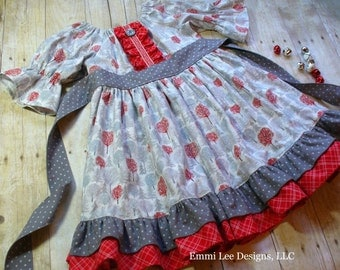 Girls Christmas Dress,Special Occasion,Holiday Dress,Little Girl Dress,Peasant Dress,Girls Twirl Dress,Sizes 12MO,18MO,2T,3T,4T,5T,6,7,8,9