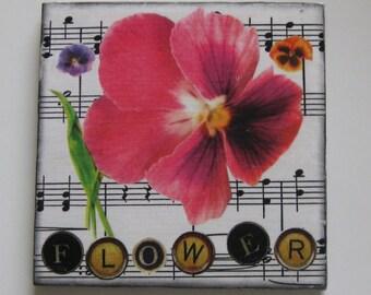 Single coaster. Coaster. Tile coaster. Gift for shut in. Large coaster. Flower coaster.