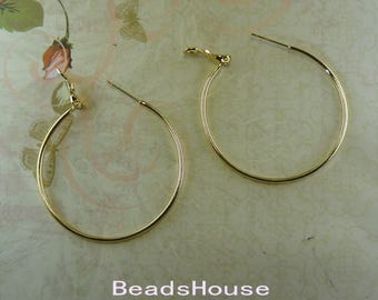 24pcs - (12 pairs)  40mm  Golden Plated  Earrings Brass Hoop Earrings - Nickel Free