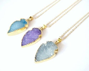 Light Iolite Druzy Arrowhead Electroplated 24K Gold Edged Necklace