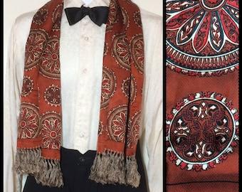 Vintage Rococo Rust Red Copper Celtic Circles patterned Green cream Silk Ascot Cravat Mens fringe Opera Scarf 1940's Gentleman 45x12.5