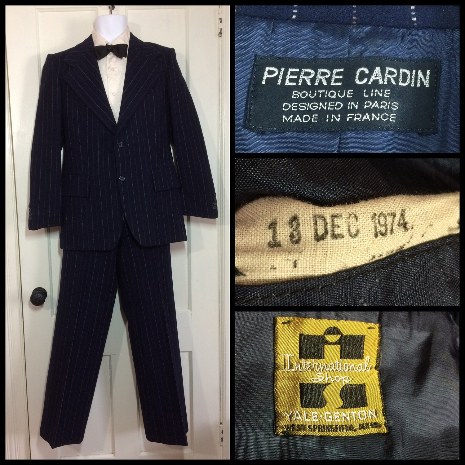 1970s designer pierre cardin boutique paris made in france 1974 2 piece blue pinstripe tailored. Black Bedroom Furniture Sets. Home Design Ideas