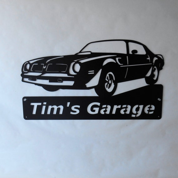 1976 Pontiac Firebird Trans Am Personalized Man Cave Classic Garage Sign Satin Black