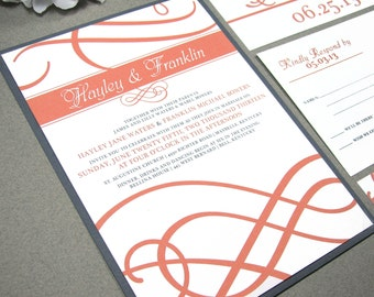 Coral And Gray Wedding Invitations Classic Wedding Invitation Suite Elegant  Calligraphy Wedding Invites Swirl Invitations Simple