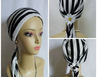 Jersey Scarf Turban  Black & White Lace Volumizer Chemo Headwear, Tichel Mitpachat Head Covering, Alopecia Head Cover, Cancer Patient Hat