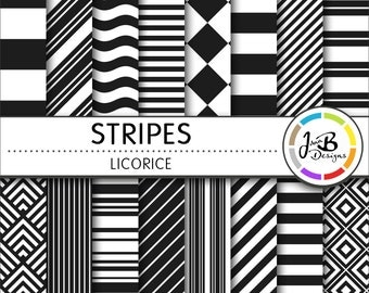 Stripes Digital Paper, Licorice, Black, Black and White, Stripes, Digital Paper, Digital Download, Scrapbook Paper, Digital Paper Pack