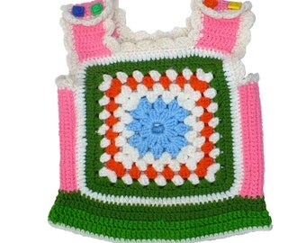 Girl 4T, Vintage 1970's Handmade Granny Square Vest Top, Pink Tank Top
