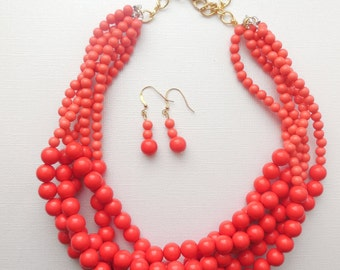Coral ombre red twisted chunky statement necklace set with Earrings