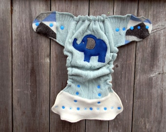 Upcycled Wool Nappy Cover Diaper Wrap Cloth Diaper Cover One Size Fits Most Light Tiffany Blue/ White With Elephant Applique/ Brown/Beige