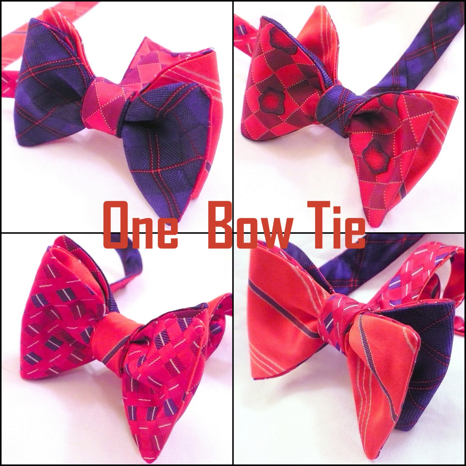custom 4 sided reversible butterfly bow ties by bowtiex on