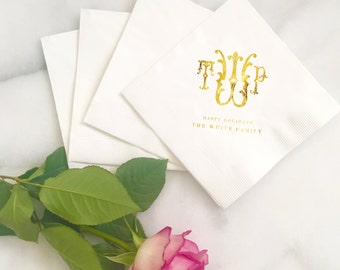 Regality Custom Monogram Custom Foil Letterpress Printed Napkins - for Weddings, Events, and More by Abigail Christine Design