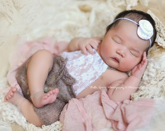 Toffee Lace Front Mohair Knit Romper Newborn Photography Prop