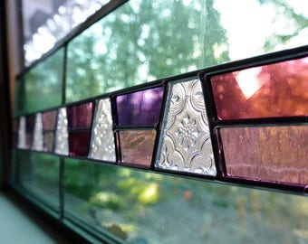 Stained Glass Panel in Lavender & Clear Textured Glass