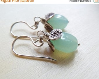 CLEARANCE Aqua Chalcedony nugget silver earrings. Beach earrings. Chalcedony earrings. Chalcedony cluster earrings. Ready to ship