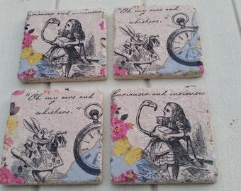 Alice in Wonderland Disney Stone Coaster Set of 4 Tea Coffee Beer Coasters