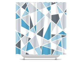 Geometric Shower Curtain, blue and gray bathroom decor, bath curtain, modern