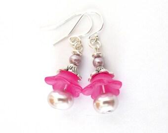 Pink Pearl Flower Earrings - Delicate Short Dangle Earrings - Sterling Open Wires - Pale Pink Pearls - Understated Earrings - Pink Flowers