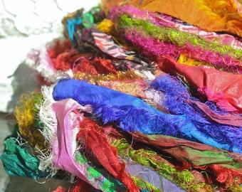 Sari Silk, Sari Silk Skein, Ribbon Yarn, Texture, Patterns, Textile Art, Felting Fiber, Vibrant Fuzzie Multi Color Sari Silk Skein #143