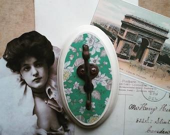 Floral Wall Hook, Bohemian Flower Jewelry Organizer, Coat Hook, Entryway Key Hook, Shabby Chic Wall Hook